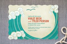 BLOCK PRINT WAVES Wedding Invitations by bumble ink at minted.com