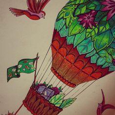 #hotairballoon #bird #goodies #adultcoloringbook #pencilcrayon #prismacolor #green #skylovers #faded #zoned