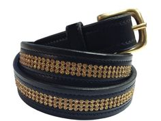 Equetech Leather Inset Topaz Crystal Belt