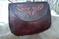 Handmade genuine leather viking belt bag