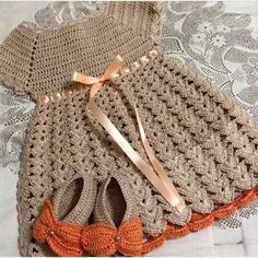Dress in crochet in yarn with an easy graphic. see to do. - Crochet patterns…