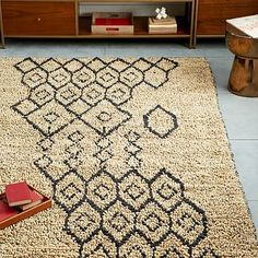 Geo Loop Jute Rug - Ivory/Slate Good price and size. We like the style a lot. Jute Rug, Woven Rug, Geometric Rug, Modern Area Rugs, Natural Rug, Affordable Home Decor, West Elm, Contemporary Rugs, Bath Rugs