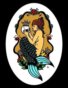 SIRÈNE victorien Art vieux School Tattoo imprimer 8 x 10