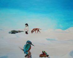 Gemälde von Ute Latzke - Pat und Patachon: Acryl auf Leinwand (Traumbilld Eisvogel Frosch Nordpol Robbe)