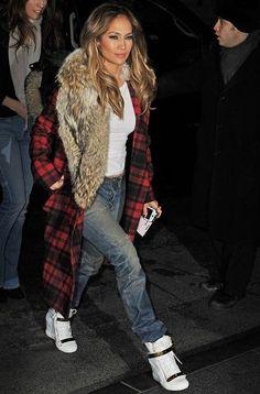 lamodellamafia: Jennifer Lopez in a plaid Michael Kors coat with fur collar and Giusseppe Zanotti wedge sneakers $61.99 CHEAP MICHAEL KORS HANDBAGS