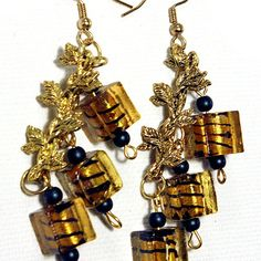 Golden Square Drop Earrings with Glass, Faux Pearls & Gold Tone Metal Spacers - JnE