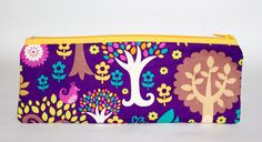 Small Handmade Pink, Purple, Blue, Yellow Enchanted Norwegian Forest, Folk, Magical, Deers, Trees,  Lined Pencil Case Zip Pouch by HelenFaerieArt on Etsy