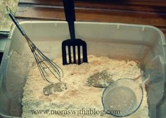 If You Give a Pig a Pancake Activities - Flour Sensory bin for Pancakes, Pancakes! Nursery Activities, Toddler Activities, Pancake Day Eyfs Activities, Book Activities, Activity Ideas, Craft Ideas, Shrove Tuesday Activities, Pj Day, Mister Wolf