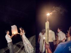 sky lanterns are released into the night sky with the couple's wishes written on the lantern.