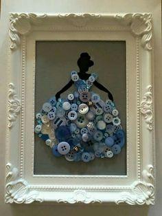 Disney blue princess button art