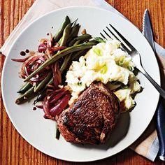 Beef Tenderloin Steaks and Balsamic Green Beans Recipe   CookingLight.com