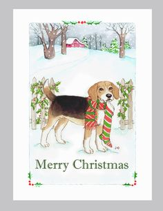 Beagle Christmas cards box of 16 in a snowy scene by Judzart, $16.60