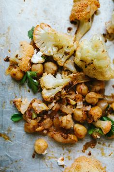 // roasted cauliflower chickpeas with harissa