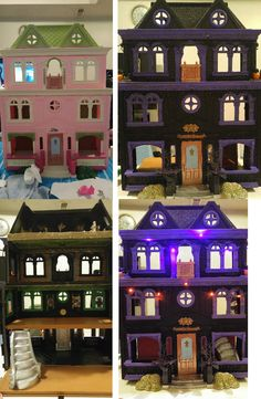 my daughters old doll house was turned into a haunted doll house. We spray painted the house black. Hand painted the trim purple.  For the interior we painted and used scrapbook paper for the walls, ribbon was glued with a hot glue gun for decor and adding Halloween stickers for additional decor as well. Lastly we added some glow in the dark paint and battery operated purple & orange lights for a great finished piece. We love it! Halloween Village, Halloween Doll, Halloween Birthday, Halloween House, Halloween Projects, Vintage Halloween, Holidays Halloween, Happy Halloween, Halloween Ribbon
