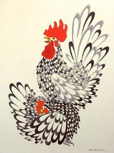"""Good Luck"" Roosters—Original Paintings: Make the sun shine every morning! Rooster Painting, Rooster Art, Rooster Decor, Chicken Painting, Chicken Art, Bird Drawings, Animal Drawings, Arte Do Galo, Paintings For Sale"