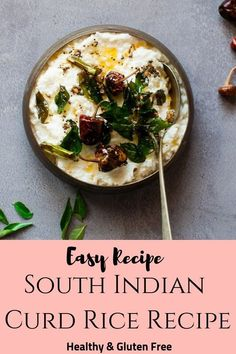 Traditional South Indian Curd Rice - made with soft rice, yogurt and a tempering made with cumin, mustard, ginger, curry leaves and chillies. Healthy Rice Recipes, Healthy Recipes On A Budget, Lunch Recipes, Vegetarian Recipes, Dinner Recipes, Cooking Recipes, South Indian Curd Rice Recipe, Easy Indian Recipes, Kitchens