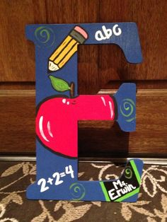 Items similar to Wooden Monogrammed Teacher's Personalized Door Hanger on Etsy Teacher Thank You, Teacher Gifts, Student Teacher, Teacher Doors, Painted Letters, Teacher Appreciation Week, School Gifts, Diy Gifts, Projects To Try