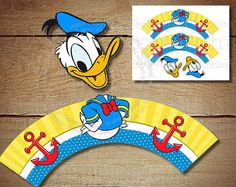 Donald Duck Cupcake Topper and Wrapper - Minnie Mouse Birthday Party