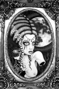 Frankenstein's Bride Black and White Vignette Archival Photo Print