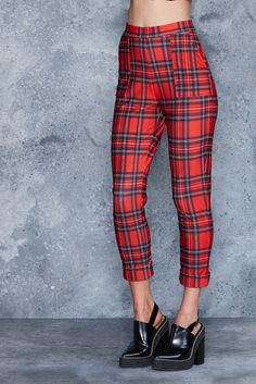 Tartan Red Cuffed Pants - CAPPED PRESALE ($110AUD) by BlackMilk Clothing