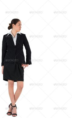 Businesswoman in suit looking to the side on white background ...  Hand On Hip, attentively, business, businesswoman, career, classy, concentrated, concentrating, copy space, corporate, cut out, elegant, female, focused, high heels, isolated, looking, mixed-race, profession, professional, sandals, serious, skirt, smart, standing, stylish, thoughtful, well dressed, white background, woman, young adult