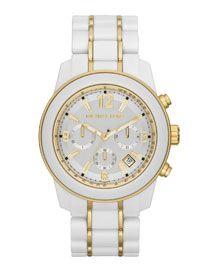 Michael Kors Michael Kors Mid-Size White Acetate Preston Chronograph Watch