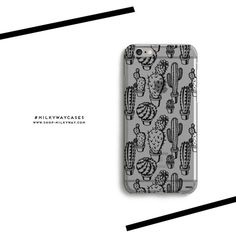'Monochrome Cactus' - Clear TPU Case Cover