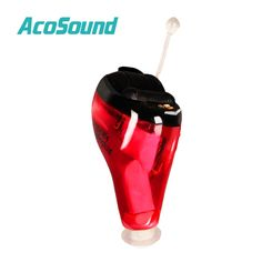 AcoSound Acomate 610 Instant Fit 6 channel Quality Digital Ear Hearing Aids Standard Voice Red Color for Right Ear