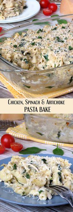 Creamy Chicken, Spinach And Artichoke Pasta Bake | http://yummyaddiction.com