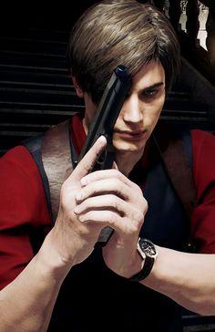 Leon in red from Resident Evil Resident Evil Anime, Resident Evil Girl, Resident Evil Franchise, Leon S Kennedy, Evil Art, Cool Cartoons, Pretty Boys, Pink, Guys