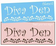 STENCIL Diva Den Fancy Swirl Art Flourish Chic Cottage Shabby Craft Sign U Paint