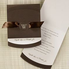 Autumn wedding invitation idea features a burnished - Invitation a mocha wrap is around this ecru card and tied together with a satin ribbon. Elegant color for the bride planning a fall wedding Brown Wedding Invitations, Beautiful Wedding Invitations, Wedding Cards, Ribbon Wedding, Invites, Autumn Wedding, Dream Wedding, Wedding Fun, Wedding Ideas