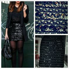 """Gorgeous sequin skirt! Make a statement this sequin mini skirt. Sequins and woven ribbon throughout this skirt make it stand out from the rest!(seen up close in pics) Elastic waist band. The skirt is body hugging.   New without tags Size medium, body fitting 95 %polyester 5% spandex Approx.16"""" long  (Picture #2 are options on how to wear a sequin skirt) Skirts Mini"""