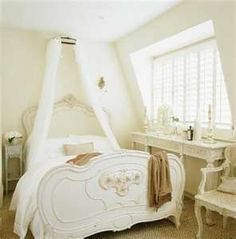 Romantic White Bed in French Country Style Bedroom Decorating Idea ...