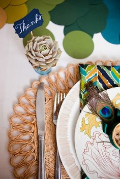 budget tabletop - love the teal + yellow + green!