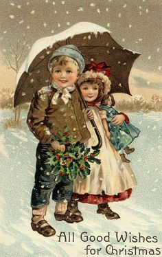 Vintage Christmas Fabric Block Victorian Kids Umbrella Snowy All Good Wishes Images Noêl Vintages, Images Vintage, Vintage Christmas Images, Victorian Christmas, Vintage Holiday, Christmas Pictures, Vintage Cards, Vintage Postcards, Christmas Scenes