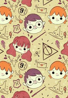 Harry Potter, Hermoine Granger, and Ron Weasley//Background//Wallpaper