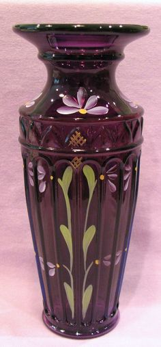 Fenton Royal Purple Yenowine Art Glass Vase -- depending on its size where it will be moved around to. Fenton Glassware, Antique Glassware, Cut Glass, Glass Art, Purple Glass, Purple Art, Deep Purple, Glass Company, Bottle Vase