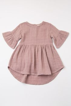Mauve Ruffle Trim Button Back Baby Dress - KiD's dresses . - Mauve Ruffle Trim Button Back Baby Dress – KiD's dresses - Baby Girl Dresses, Baby Outfits, Kids Outfits, Dress Girl, Toddler Outfits, Boho Dress, Baby Clothes Patterns, Cute Baby Clothes, Sewing Baby Clothes