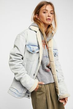 4a472d2aa0b Oversized Trucker Jacket Sherpa Lined Denim Jacket, Oversized Denim Jacket, Denim  Jacket Men,