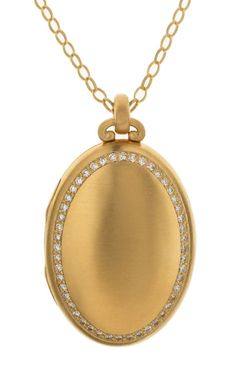 diamond oval locket