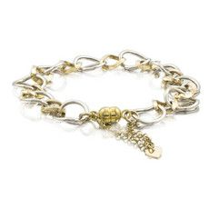 Two Tone Link Bracelet in 14k White & Yellow Gold
