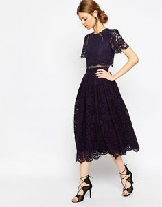 $113 - ASOS Lace Crop Top Midi Prom Dress