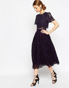 $113 - ASOS Lace Crop Top Midi Prom Dress