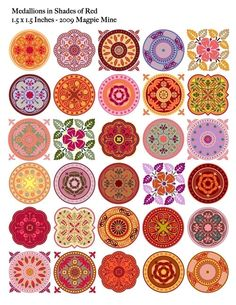 Medallions Red Mandalas Collage Sheet 1.5 Inch by MagpieMine
