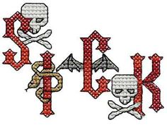 Heavy Metal Cross Stitch Alphabet Machine Embroidery Designs  http://www.designsbysick.com/details/xsheavymetalalpha