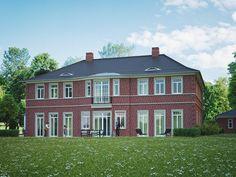 Die Visualisierung eines exklusiven Landhauses im klassischen Stil bietet alle Annehmlichkeiten.