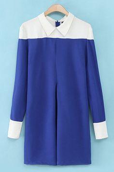 Color Block Pleat Dress OASAP.com