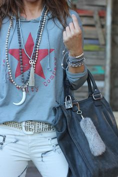 Boho Styling Details: Layered Necklaces and Bracelets #johnnywas