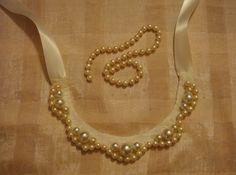 DIY ribbon pearl lace felt bib necklace